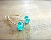 Aqua Czech Glass Bead Earrings