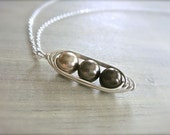 3 Peas in a Pod Necklace - Mocha Madness Ombre - Mom, Mum, Mother's Day