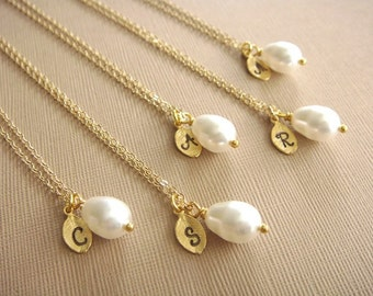 Bridesmaid Gift - 5 Cream or White Pearl Hand Stamped Initial Necklaces in 14K Gold Filled - choose pearl color - 10% off