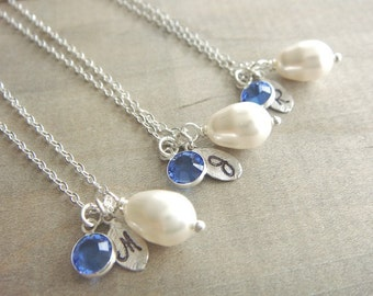 Bridesmaid Gift - 3 Cream or White Pearl Hand Stamped INITIAL and BIRTHSTONE Necklaces in Sterling Silver - choose pearl color