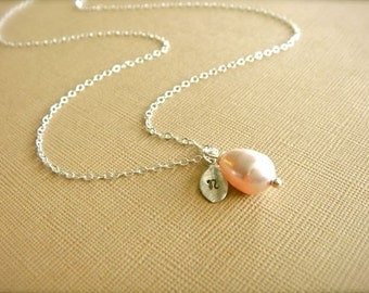 Personalized Simple Pink Teardrop Pearl Necklace in Silver - Wedding, Bride, Bridal, Bridesmaid Mother's Day