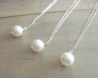 3 Simple Pearl Necklaces Cream or White - Your Choice - Bride, Bridal party, Bridesmaid, Christmas Gifts