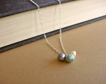 Freshwater Pearl Trio on SIlver - Trio in Seafoam