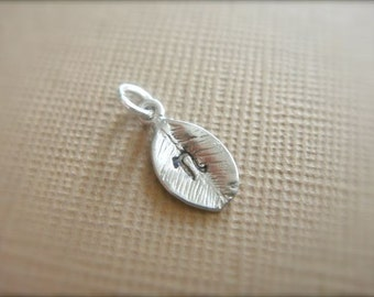 Tiny Silver Leaf Charm with Personalized Letter