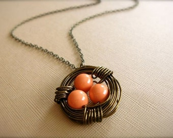 Sparrow's Nest Necklace - Brass Wire Necklace with Coral Swarovski Beads - Mom, Mother's Day, Mum