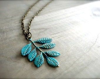 Long Frond Necklace - 28 Inch Brass Necklace