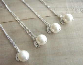 Bridesmaid Gift - 4 Cream or White Pearl Hand Stamped INITIAL Necklaces in Sterling Silver - choose pearl color