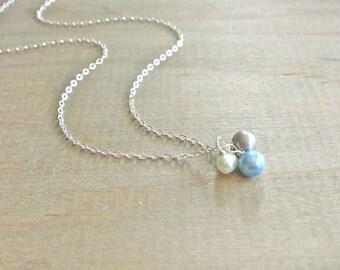 Freshwater Pearl Trio on Silver Necklace - Trio in Robin's Egg Blue - Bride, Bridal party, Bridesmaid