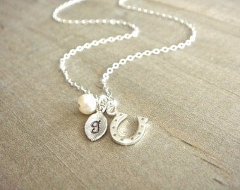 Personalized Sterling Silver Lucky Horseshoe Necklace