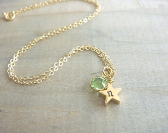 Personalized Hand Stamped Gold Star Necklace with Birthstone - REVERSIBLE - Bride, Bridal, Bridesmaid gift, Mother's Day