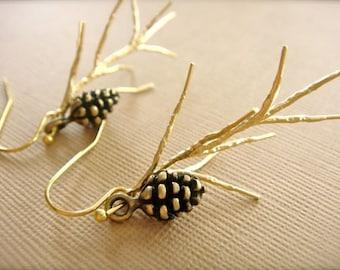 Gold Pine Earrings