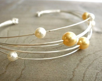 Clustered Gold and Cream Pearls - Bracelet