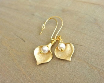 Gold Calla Lilly Earrings