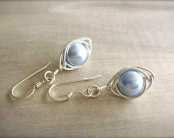 Blue Pearl Herringbone Earrings