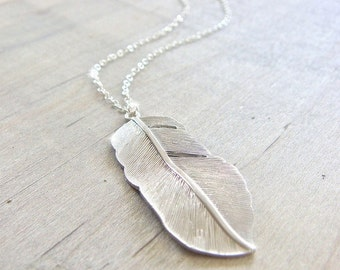 Silver Feather Necklace - LONG 28 inch sterling silver chain