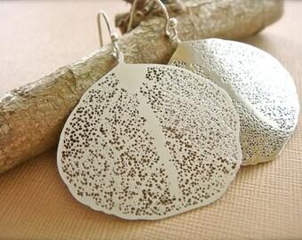 White Gold Skeleton Leaf Earrings