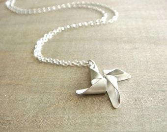 Silver Pinwheel Necklace