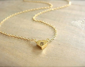 One Heart Initial Necklace in Gold - REVERSIBLE - Bride, Bridal, Bridesmaid gift