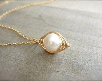White Pearl Herringbone Necklace in Gold