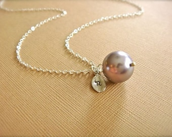 Personalized Simple Mauve Pearl Necklace in Silver - Wedding, Bride, Bridal, Bridesmaid, Mother's Day