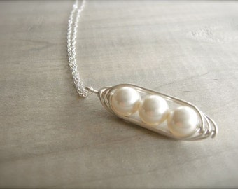 3 Peas in a Pod - Pearls Wrapped in Sterling Silver - Choose Your PEARL COLOR - Mother's Day