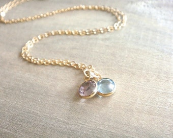 Two Birthstone Swarovski Crystal Necklace in Gold - Personalized,Birthday, Kids, Children, Family, Grandchildren, Mother's Day, Mom