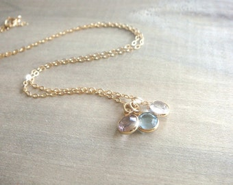 Three Birthstone Swarovski Crystal Necklace in Gold - Personalized,Birthday, Kids, Children, Family, Grandchildren, Mother's Day, Mom
