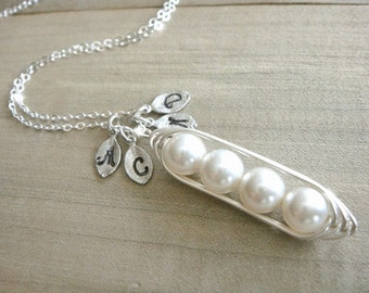 Personalized 4 Peas in a Pod wrapped in Sterling Silver - Choose your INITIAL and PEARL COLOR - Mother's Day