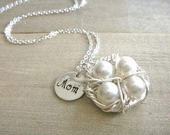 Mom's Birdnest Pendant - 4 Pearls Wrapped in Silver - Choose Your PEARL COLOR - mom, mother, grandmother, kids, children, Mother's Day