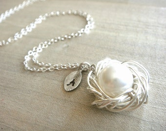 Personalized Birdnest Pendant - 1 Pearl Wrapped in Silver - Choose Your Initial - mom, mother, grandmother, kids, children, Mother's Day