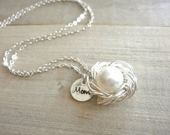 Mom's Birdnest Pendant - 1 Pearl Wrapped in Silver - White or Cream Pearl - mom, mother, grandmother, kids, children, Mother's Day