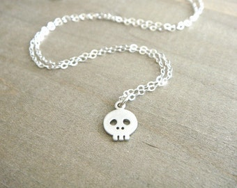 Tiny Skull Necklace in Sterling Silver
