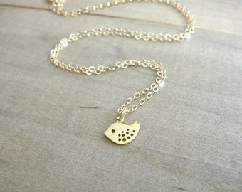 Tiny Bird Necklace in Gold - Baby bird, baby sparrow