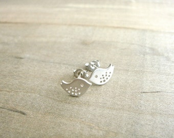 Tiny Bird Earrings in Silver - Baby bird, baby sparrow