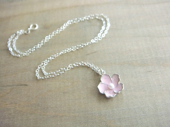 Pink Sakura Cherry Blossom Necklace in Silver - Bride, Bridal party, Bridesmaid