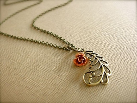 Antique Filigree Feather Necklace