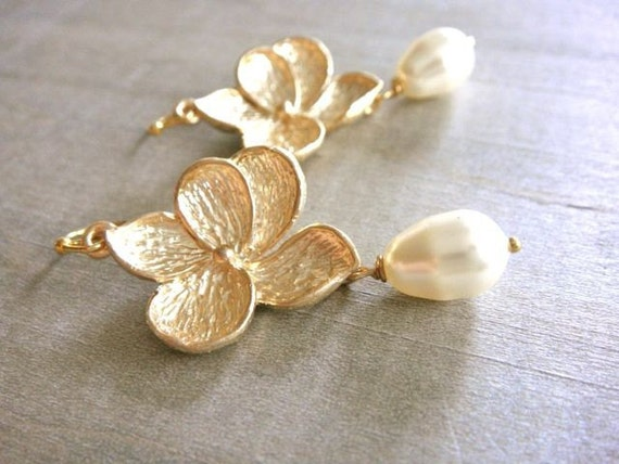 Gold Plumeria Earrings - Wedding, Bride, Bridal, Bridesmaid, Mom, Mother's Day, Gift, Friend