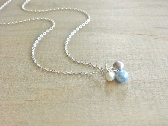 Freshwater Pearl Trio on Silver Necklace - Trio in Robin's Egg Blue - Bride, Bridal party, Bridesmaid