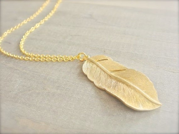 Long Gold Feather Necklace Gold Feather Necklace Long