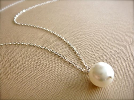 Simple White  or Cream Pearl Necklace - Bride, Bridal party, Bridesmaid - Choose Round or Teardrop Pearl