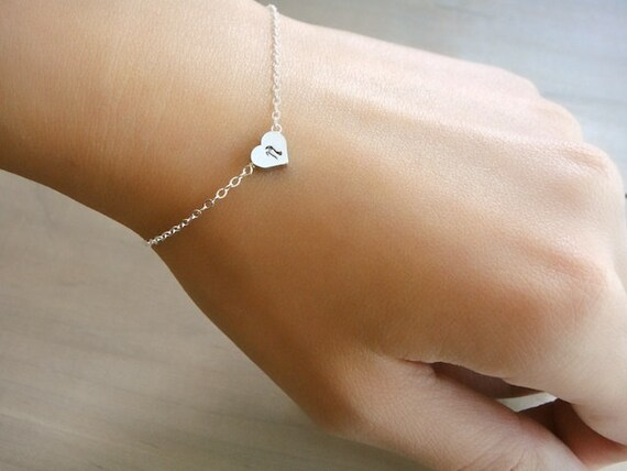 Custom Initial Silver Heart Bracelet - Hand stamped double sided heart - Buy 2 Get 1 FREE - Bride, Bridal, Bridesmaid gift