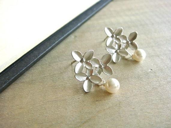 Silver Cherry Blossom Earrings - Bride, Bridal party, Bridesmaid, Wedding