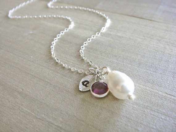 Personalized White or Cream Teardrop Pearl Necklace on Sterling Silver - choose your BIRTHSTONE and personalized LETTER - Bridal, Bridesmaid