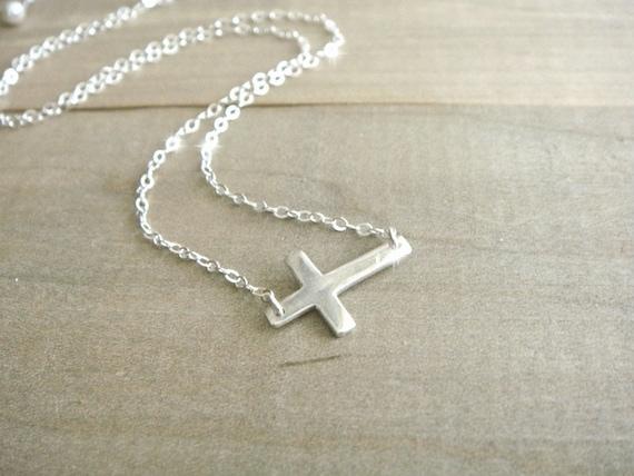 Sideways Cross - Sterling Silver - Celebrity necklace, Kelly Ripa, Taylor Jacobson, Jennifer Lopez, Jessica Biel, Easter, Religious