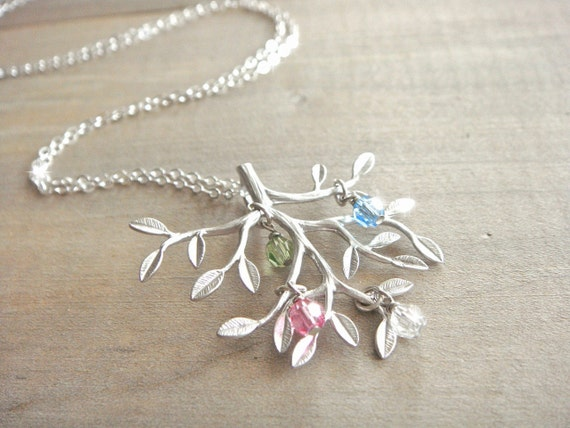 Family Tree Necklace in Silver with Birthstones - Sterling SIlver Chain - up to 4 (Four) birthstones - kids, mom, grandmother, Mother's Day