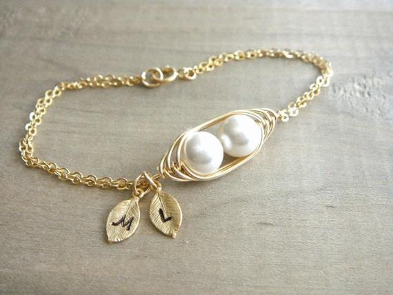Personalized 2 Peas in a Pod Bracelet wrapped in Gold Filled Wire - Choose your Initial and Pearl Color - Mom, Mother, Mother's Day