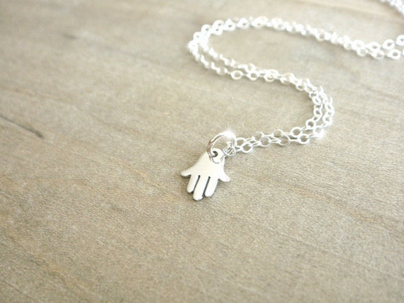 Tiny Silver Hamsa Necklace - Sterling Silver Hamsa Hand on a Sterling Silver Chain