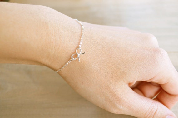 Bow Bracelet - Mini / Tiny Sterling Silver Bow - Wedding, Bride, Bridal, Bridesmaid Gift, Bridal order - Tie the knot