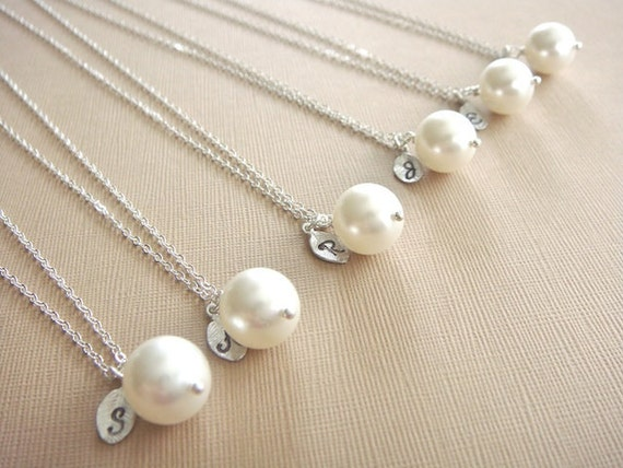 Bridesmaid Gift - 6 Cream or White Pearl Hand Stamped INITIAL Necklaces in Sterling Silver - choose pearl color  - 10% off