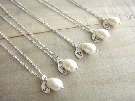 Bridesmaid Gift - 5 Cream or White Pearl Hand Stamped Initial Necklaces in Sterling Silver - choose pearl color  - 10% off